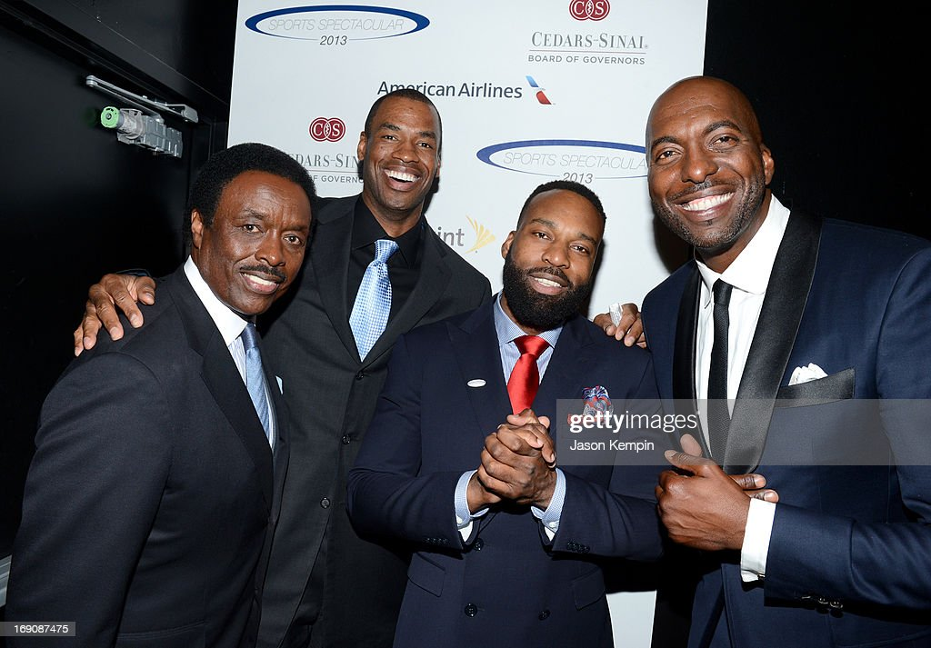 Sportscaster Jim Hill and pro basketball players honoree Jason Collins and Baron Davis and retired pro basket ball player and radio host John Salley attend the 28th Anniversary Sports Spectacular Gala at the Hyatt Regency Century Plaza on May 19, 2013 in Century City, California.