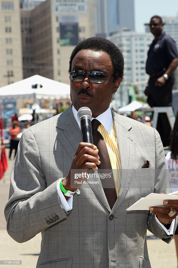 Sportscaster Jim Hill attends the Debra Lee Opening Ceremony at the Fan Fest Outdoor during the 2013 BET Experience at LA LIVE on June 28 2013 in Los...