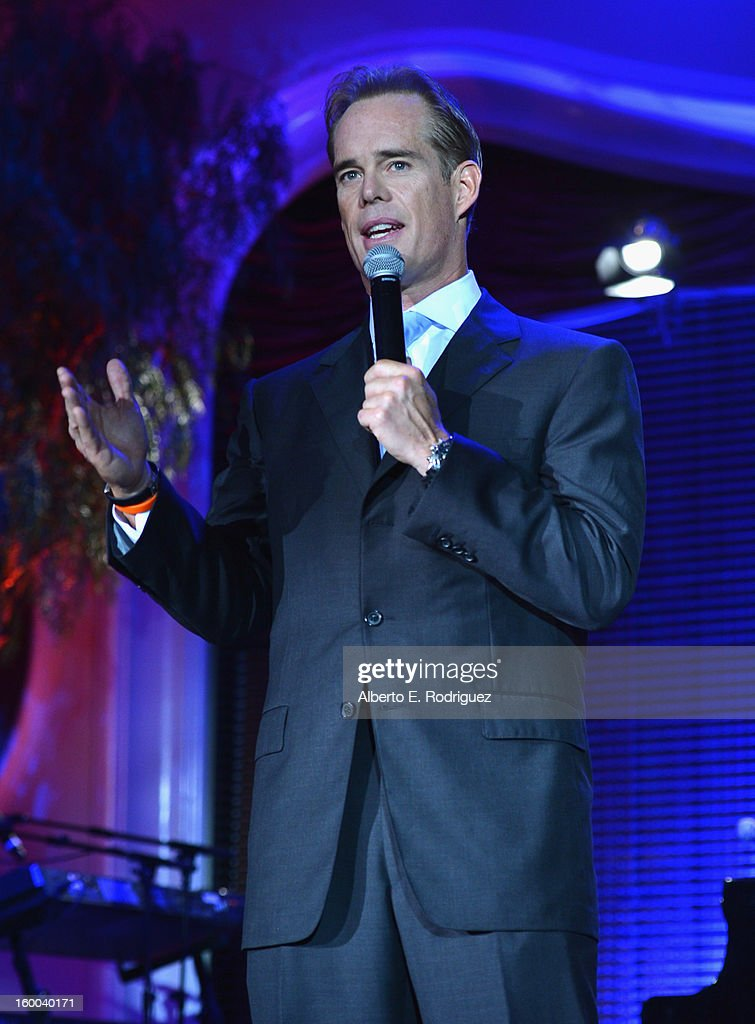 Sportscaster <a gi-track='captionPersonalityLinkClicked' href=/galleries/search?phrase=Joe+Buck&family=editorial&specificpeople=698406 ng-click='$event.stopPropagation()'>Joe Buck</a> speaks at The Voice Health Institute's 'Raise Your Voice' benefit at the Beverly Hills Hotel on January 24, 2013 in Beverly Hills, California.