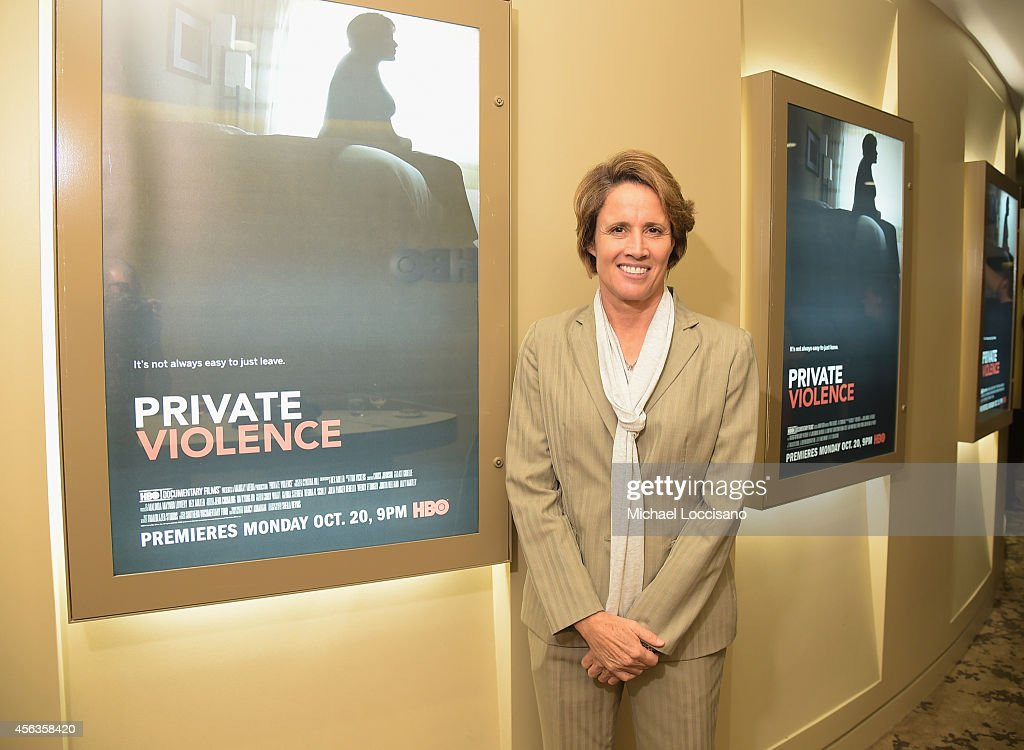Sportscaster Mary Carillo attends the New York special screening of the HBO Documentary 'Private Violence' at HBO Theater on September 29 2014 in New...