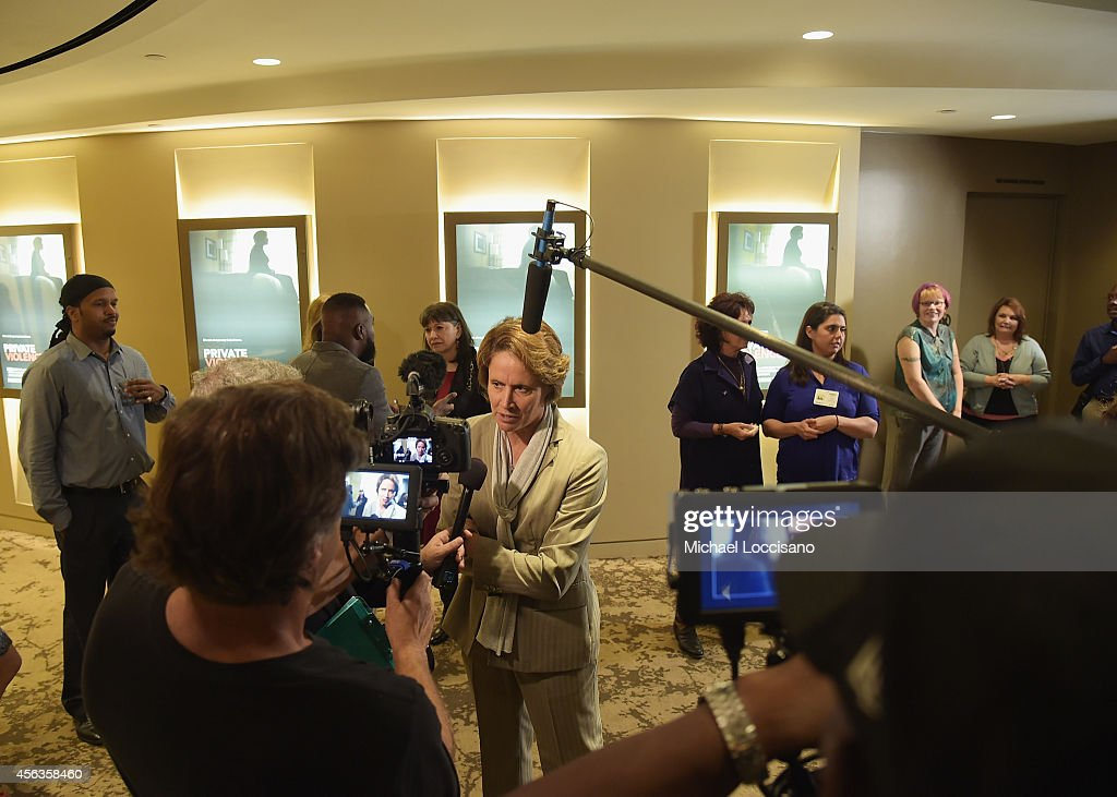 Sportscaster Mary Carillo is interviewed during the New York special screening of the HBO Documentary 'Private Violence' at HBO Theater on September...