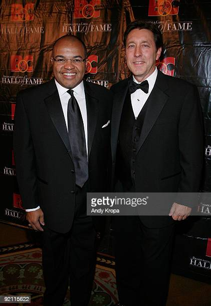 Sportscaster Mike Tirico and ESPN President George Bodenheimer attend the 19th Annual Broadcasting Cable Hall of Fame Awards at The WaldorfAstoria on...