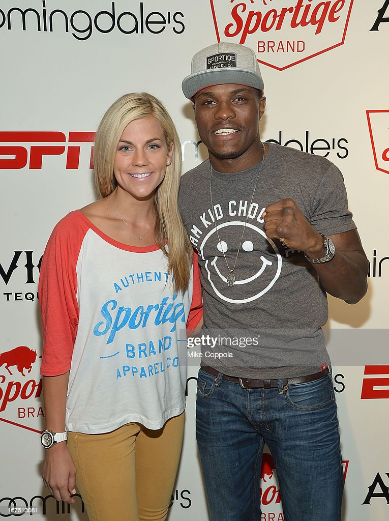 Sportscaster Samantha Ponder (L) and Professional boxer Peter Quillin pose for a picture as Sportiqe and ESPN host a NBA Playoff Party at Bloomingdale's 59th Street Store on April 25, 2013 in New York City.