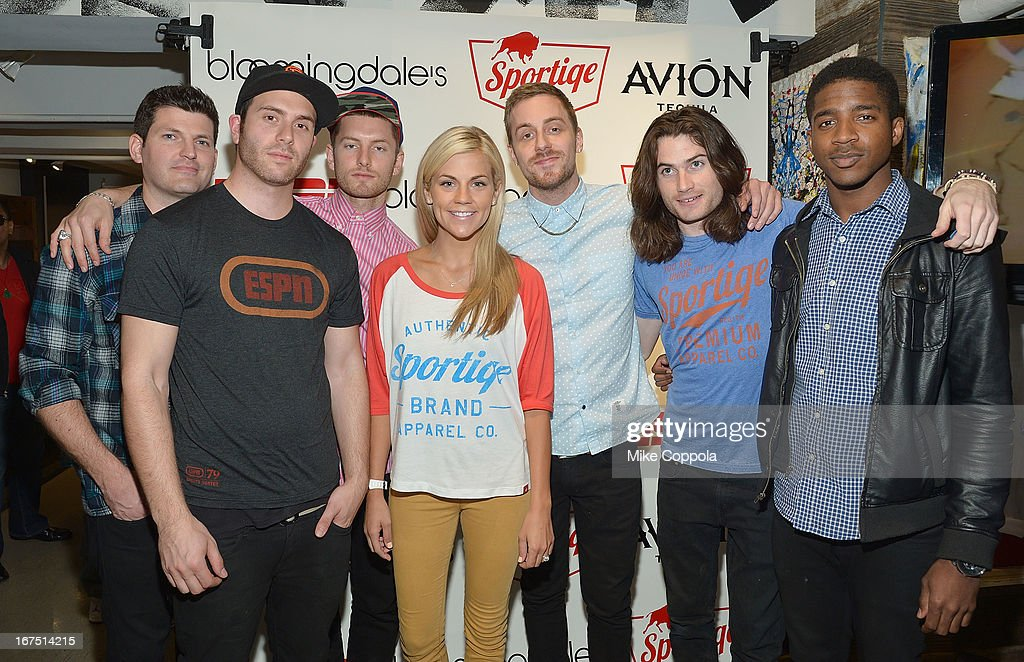 Sportscaster Samantha Ponder (C) poses for a picture with the band 2AM Club as Sportiqe and ESPN host a NBA Playoff Party at Bloomingdale's 59th Street Store on April 25, 2013 in New York City.