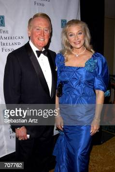 Sportscaster Vin Scully and his wife Sandra attend the American Ireland Fund Gala April 17 2002 in Los Angeles CA