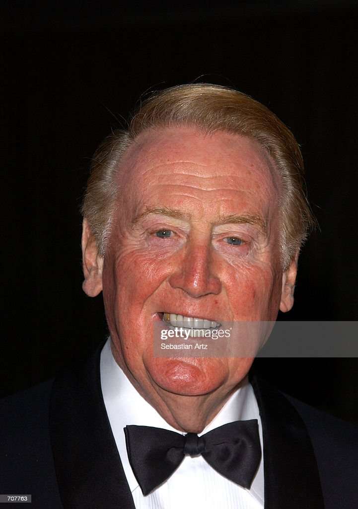 Sportscaster Vin Scully attends the American Ireland Fund Gala April 17 2002 in Los Angeles CA