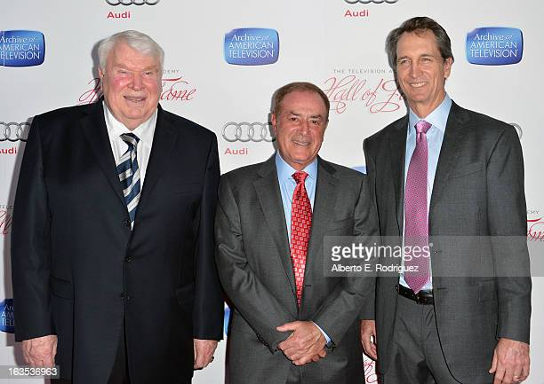Sportscasters John Madden Al Michaels and Cris Collinsowrth attend the Academy of Television Arts Sciences' 22nd Annual Hall of Fame Induction Gala...