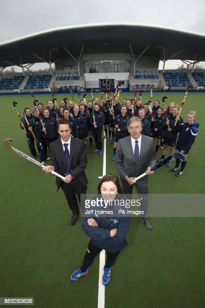 Sportscotlandacircs Director of High Performance Mike Whittingham Captain of the womens team Linda Clement and Chief executive of hockey David...