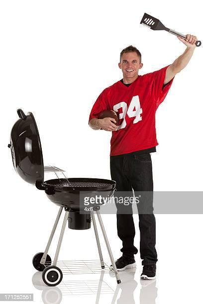 Sportsman barbecuing Speisen