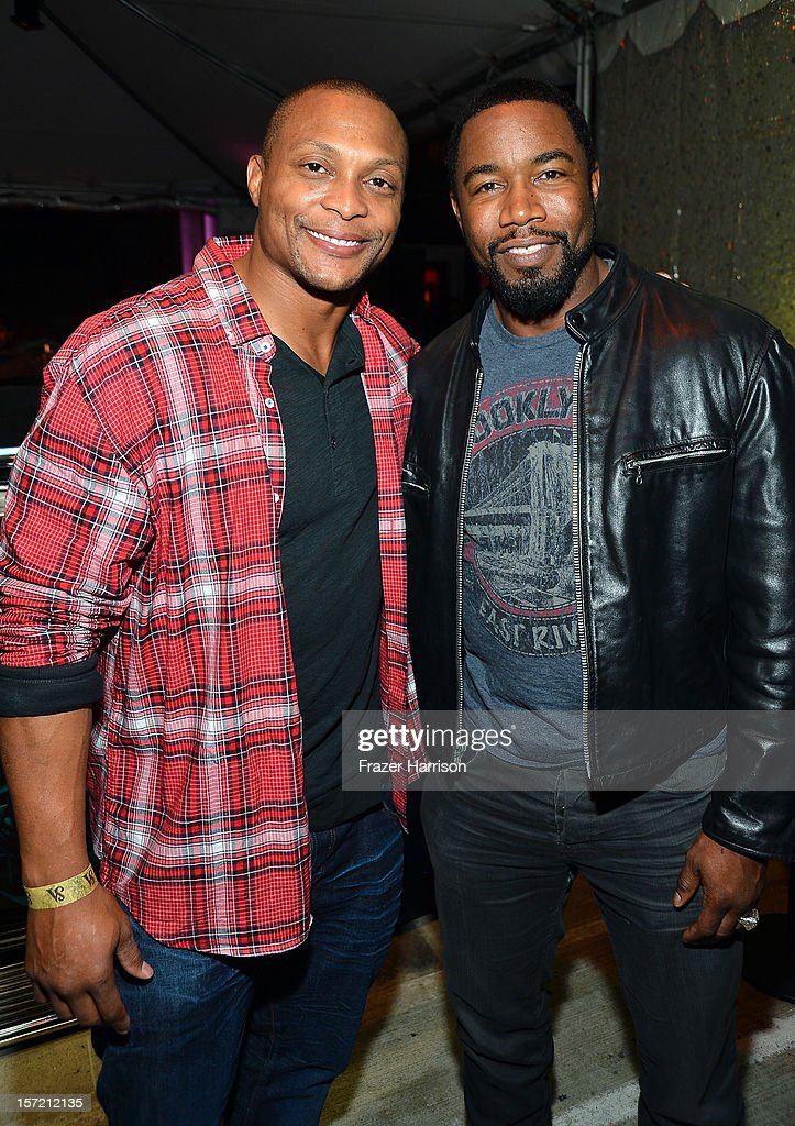 Sportsman Eddie George and actor <a gi-track='captionPersonalityLinkClicked' href=/galleries/search?phrase=Michael+Jai+White&family=editorial&specificpeople=1194842 ng-click='$event.stopPropagation()'>Michael Jai White</a> attend SA Studios and Mister Cartoon VIP Screening and After Party of Warner Brothers Pictures 'Gangster Squad' at SA Studios on November 29, 2012 in Los Angeles, California.