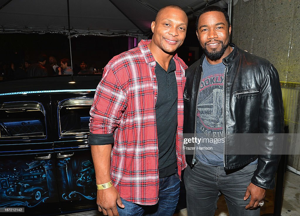 Sportsman Eddie George and actor Michael Jai White attend SA Studios and Mister Cartoon VIP Screening and After Party of Warner Brothers Pictures 'Gangster Squad' at SA Studios on November 29, 2012 in Los Angeles, California.