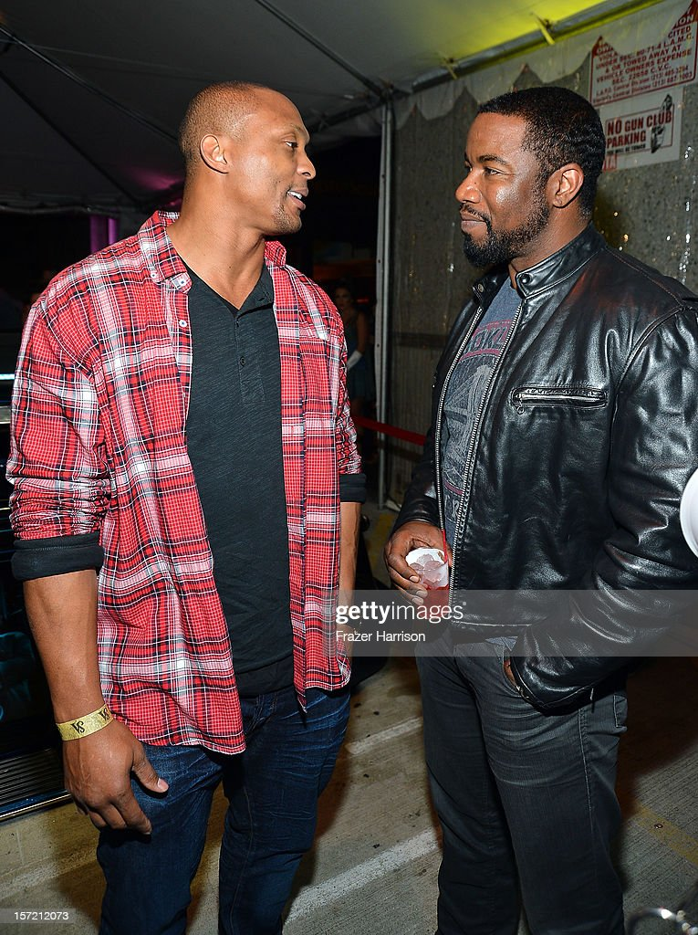 Sportsman Eddie George and actor Michael Jai White attends SA Studios and Mister Cartoon VIP Screening and After Party of Warner Brothers Pictures 'Gangster Squad' at SA Studios on November 29, 2012 in Los Angeles, California.