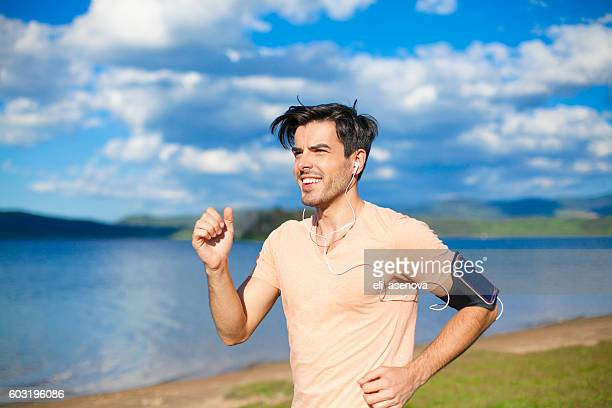 Sportsman jogging in the nature