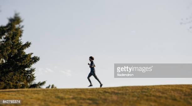Sportsman jogging outdoors