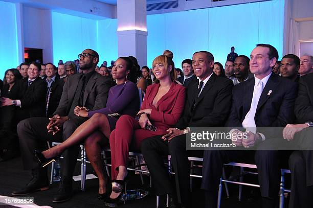 Sportsman of the Year LeBron James Savannah Brinson Beyonce and JayZ attend the 2012 Sports Illustrated Sportsman of the Year award presentation at...