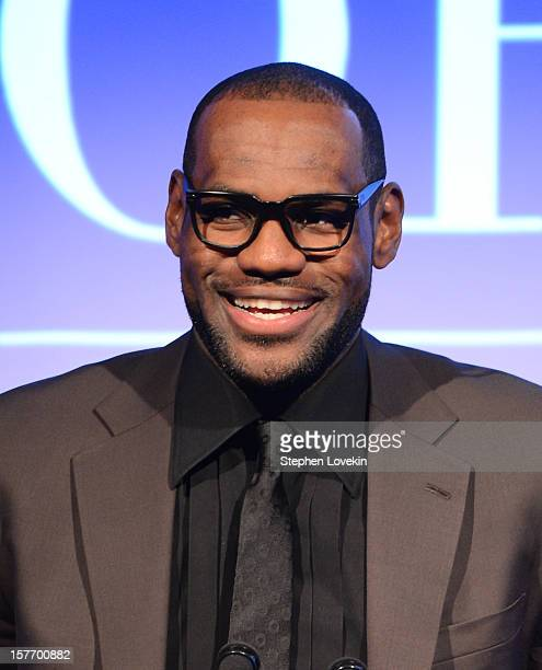 Sportsman of the Year LeBron James speaks onstage at the 2012 Sports Illustrated Sportsman of the Year award presentation at Espace on December 5...