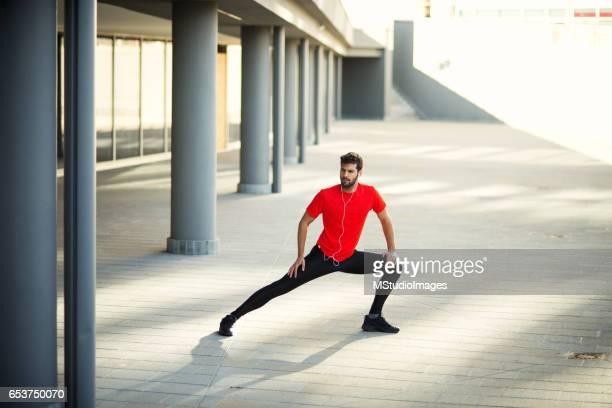 Sportsman stretching