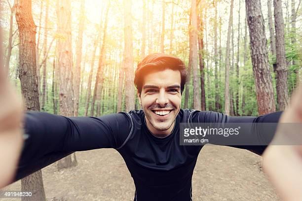 Sportsman ein selfie
