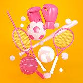 Soccer, basketball, tennis, baseball, volleyball, hockey, golf and boxing symbols on orange background