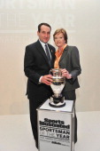 Sportswoman and Sportsman of the Year College Basketball coaches Pat Summitt and Mike Krzyzewski pose with award at the 2011 Sports Illustrated...