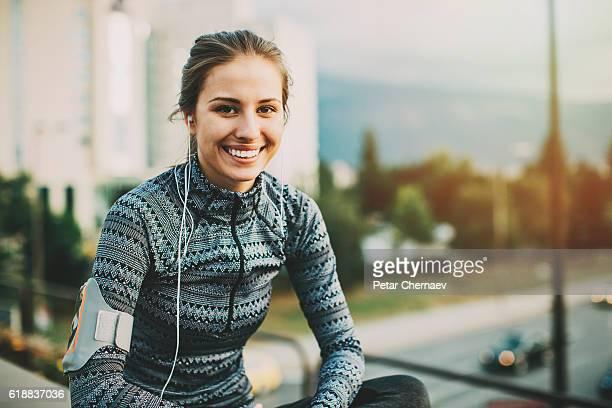 Sportswoman in the city