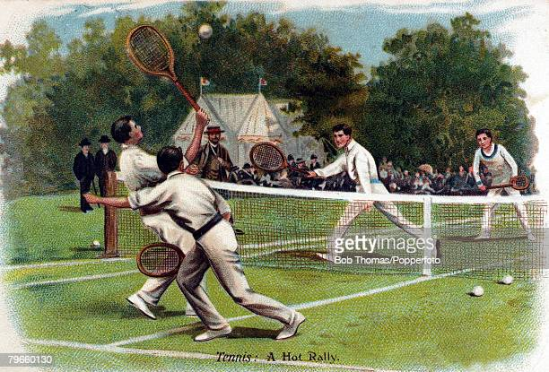 Sport/Tennis circa 1910 Colour illustration entitled 'A Hot Rally' shows a Mens Doubles match played on grass
