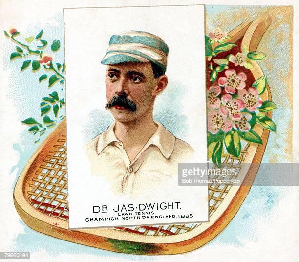 Sport/Tennis Colour postcard illustration circa 1885 DrJasDwight North of England Lawn Tennis Champion