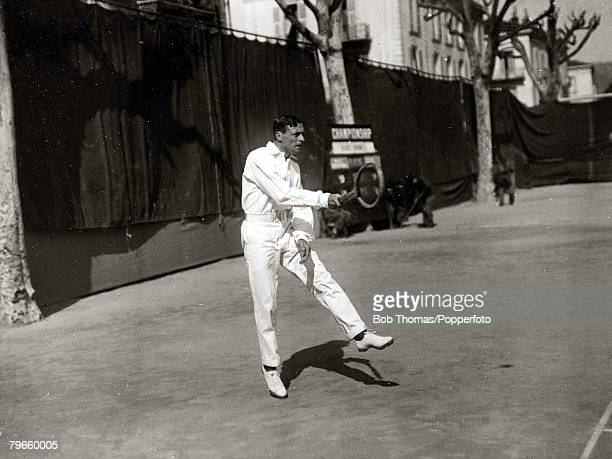 Sport/Tennis France Laurie Doherty nicknamed 'Little Do' pictured playing in the South of France He won the Wimbledon Mens Singles title 19021906...