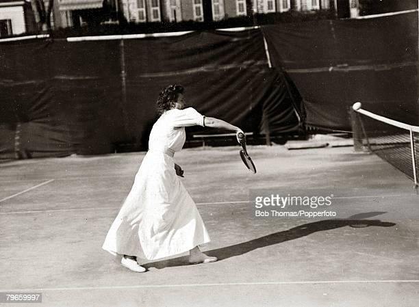 Sport/Tennis France Miss Csery seen playing in the South of France in womens tennis fashion typical of the day This photograph is from an album...