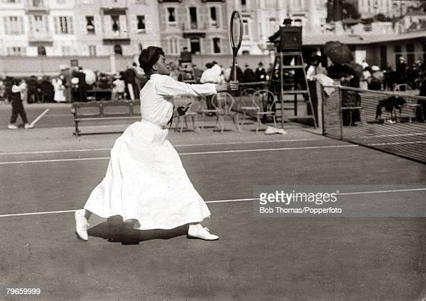 Sport/Tennis France Miss Eastlake Smith playing in the South of France This photograph is from an album covering tennis matches on the French Riviera...