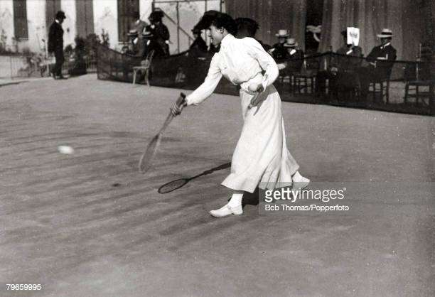 Sport/Tennis France Miss EDillon seen playing in the South of France This photograph is from an album covering tennis matches on the French Riviera...