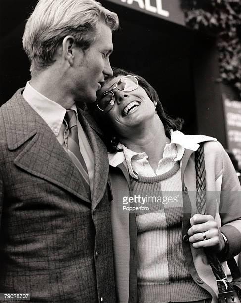 Sport/Tennis London England 6th July 1972 USA's BillieJean King at Wimbledon with her husband She won 20 Wimbledon titles her first Singles success...