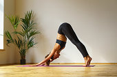 young woman in sportswear doing yoga bow exercise  cat position, natural light