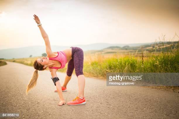 Sporty girl exercising