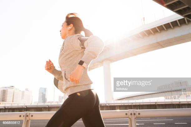 Sporty lady running