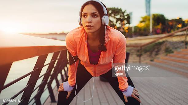 Sporty Woman Exhausted After Exercise.