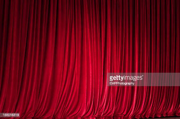 Spot Light on a Plush Red Curtain