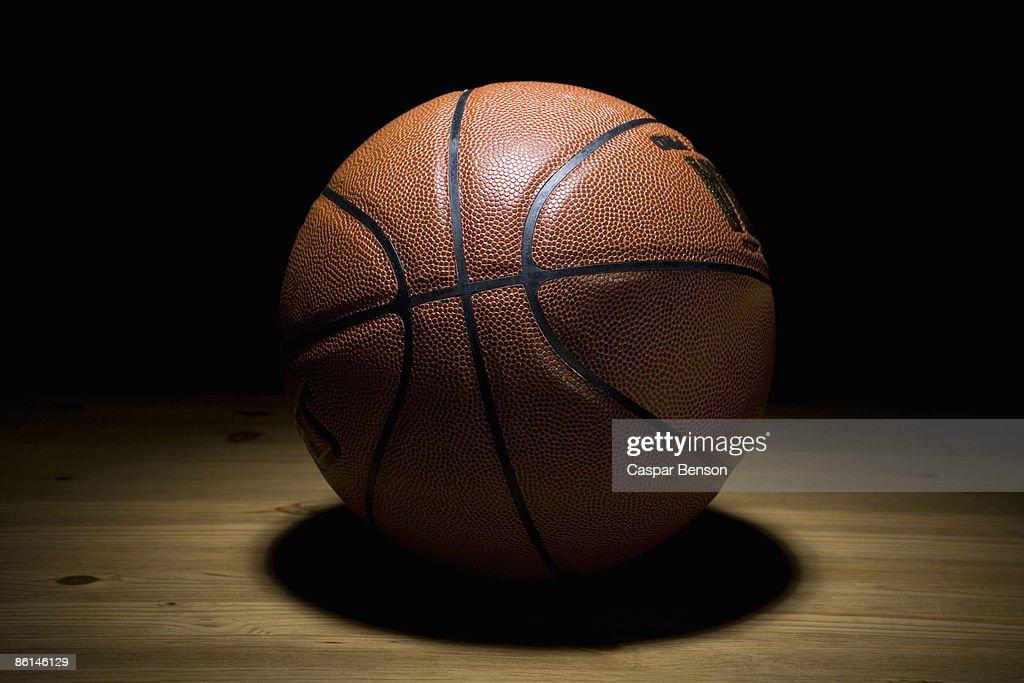 A spot lit basketball
