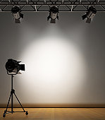 A vintage theater spotlight setup, lighting up a white paper background