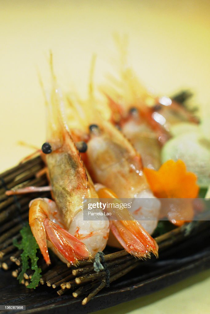 Spot prawn sashimi : Stock Photo