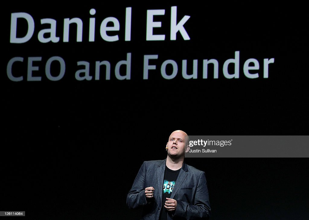 Spotify CEO Daniel Ek makes an appearance during a keynote address by Facebook CEO Mark Zuckerberg at the Facebook f8 conference on September 22, 2011 in San Francisco, California. Facebook CEO Mark Zuckerberg kicked off the conference introducing a Timeline feature to the popular social network.
