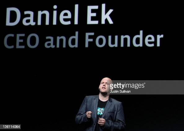 Spotify CEO Daniel Ek makes an appearance during a keynote address by Facebook CEO Mark Zuckerberg at the Facebook f8 conference on September 22 2011...