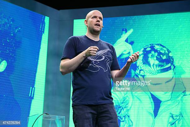 Spotify founder Daniel Ek speaks during the Spotify New Platform Launch at SIR Studios on May 20 2015 in New York City