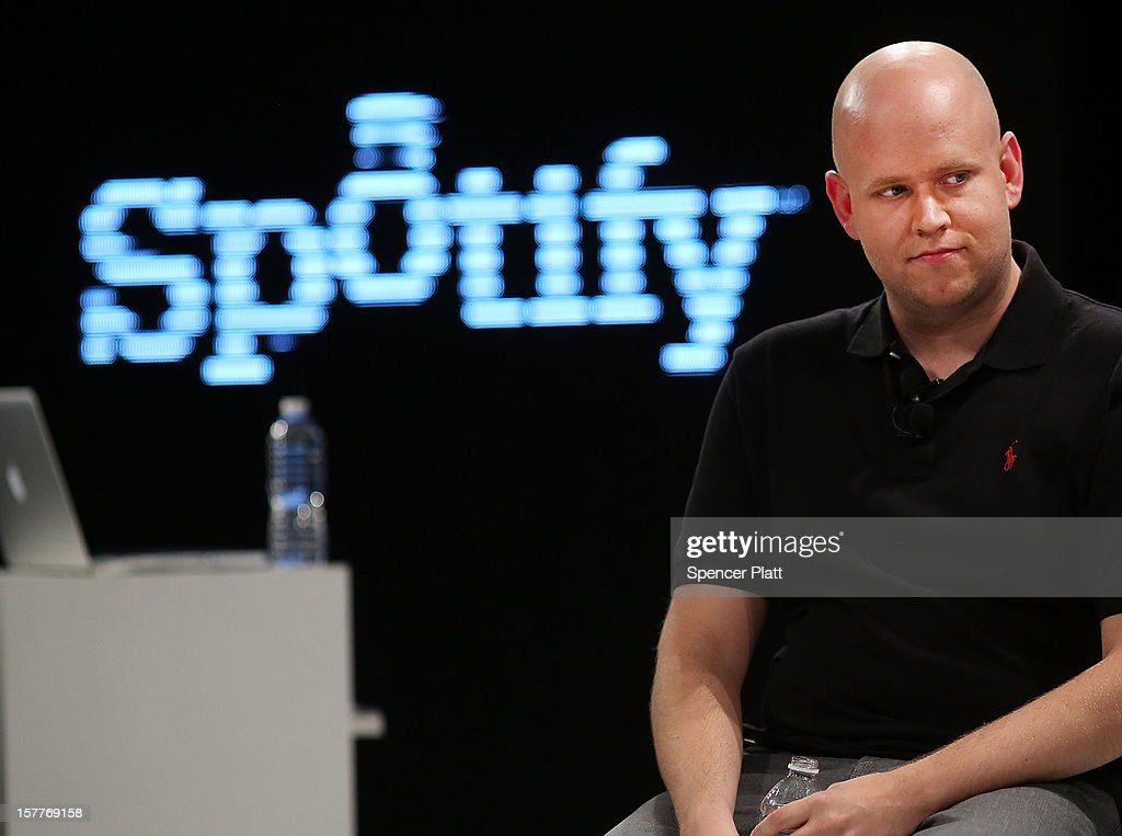 Spotify's founder and CEO Daniel Elk speaks at a Spotify event on December 6, 2012 in New York City. Elk, who started the Swedish music streaming business in 2006, introduced a variety of new additions to the popular music sight. Elk also announced that Spotify now has 5 million paid subscribers, 20 million active users and has paid out a half billion dollars to artist's record labels.