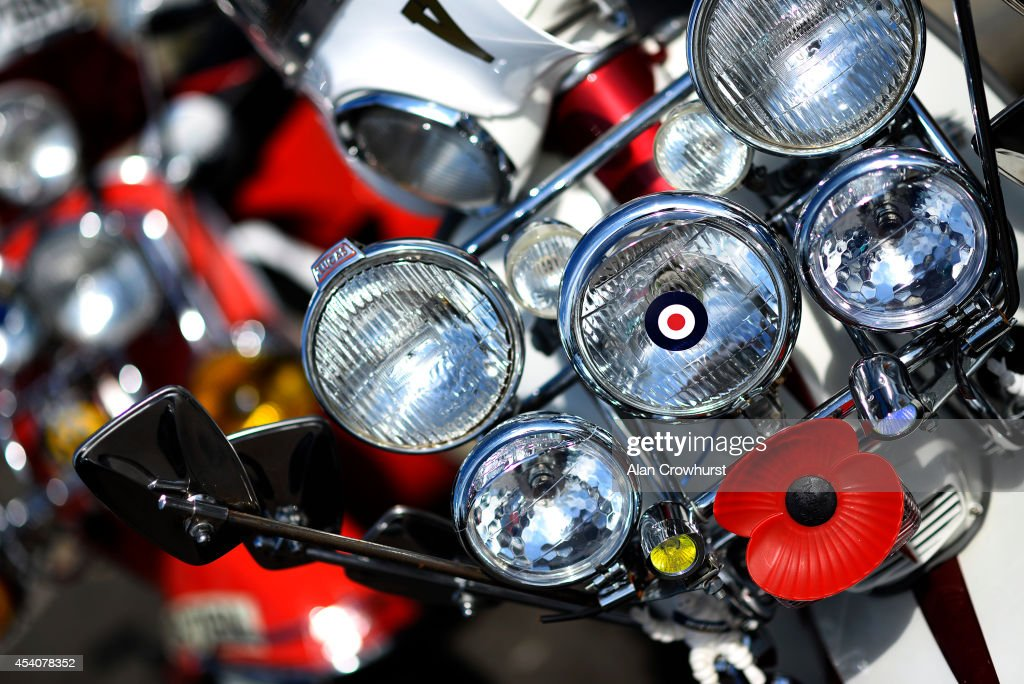 Spotlamps on the front of a scooter during the Brighton Mod weekender on August 24, 2014 in Brighton, England. This August Bank holiday will see many Mods and their scooters return to their spiritual home of Brighton for the Mod Weekender event.