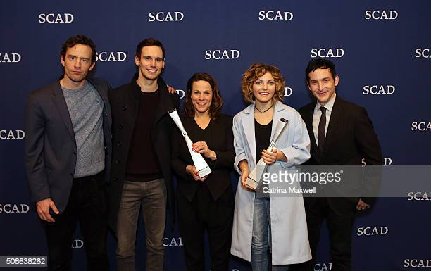 Spotlight Cast Award Recipients for 'Gotham' actors Nathan Darrow Cory Michael Smith Camren Bicondova and Robin Lord Taylor pose together with Icon...