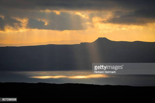 Spotlight of sunshine with Raasay and Skye in the background, Scotland