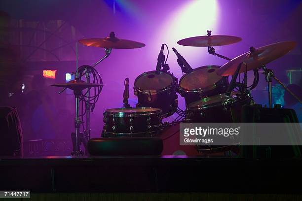 Spotlight on a drum kit in a nightclub, New Orleans, Louisiana, USA