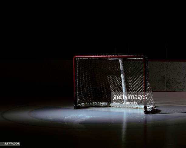 Spotlight on an empty hockey net