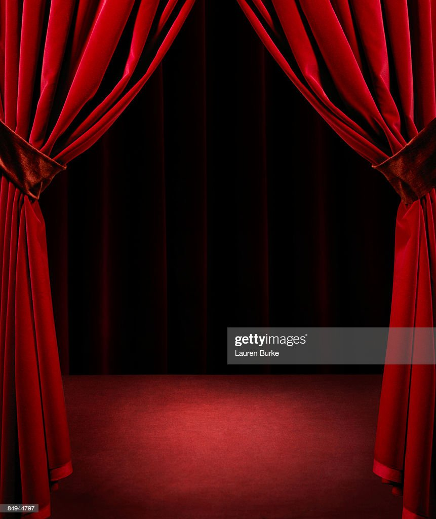 Stage curtains spotlight - Spotlight On Empty Stage With Red Velvet Curtains Stock Photo